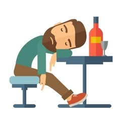 Drunk man fall asleep in the pub vector image