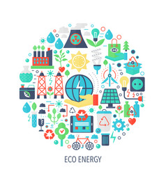 Eco green energy flat infographics icons in circle vector