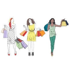 fashion shopping girls woman set group happy vector image
