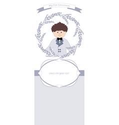 First communion celebration reminder cute boy vector