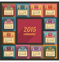 Flat calendar 2015 year design vector image