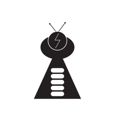 Flat icon in black and white UFO vector
