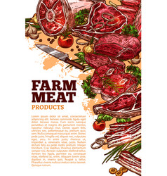 Fresh meat product of organic farm banner design vector