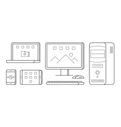 Gadgets in thin line style vector