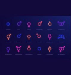 Gender neon icons glowing light symbols sexual vector