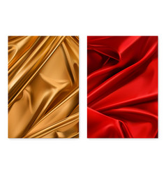 gold and red textures foil fabric 3d realistic vector image