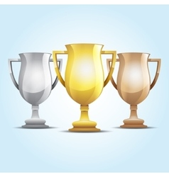 Gold silver and bronze winners cup vector