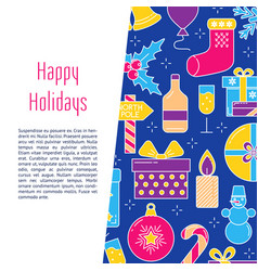 Happy holidays banner template in colored line vector