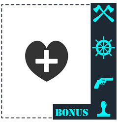 health hearth cross icon flat vector image