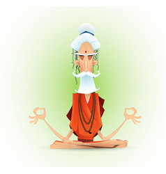 Holy yogi in deep concentration vector