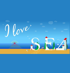 I love sea artistic font summer card vector