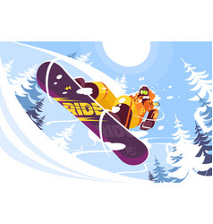 jumping snowboarder in trendy suit vector image