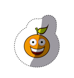 Kawaii fruit orange happy icon vector