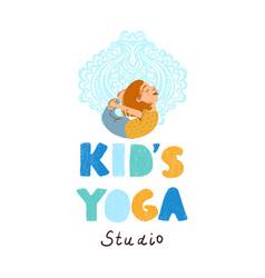 Kids yoga studio logo vector