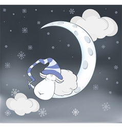 Lovely lamb and a moon Cartoon vector image
