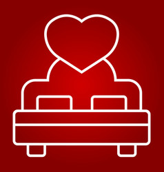 lovers bed with heart line icon valentines day vector image