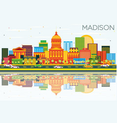 Madison skyline with color buildings blue sky and vector