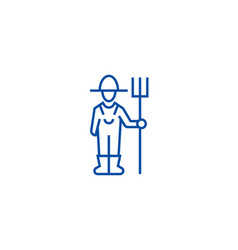 male farmer with hayfork line icon concept male vector image
