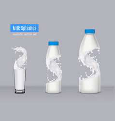 Milk splashes realistic composition vector