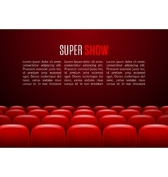 Movie theater with row red seats premiere vector