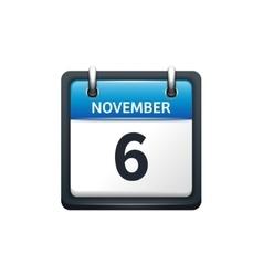 November 6 calendar icon flat vector