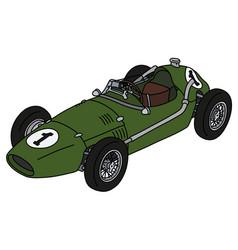 Old green racecar vector
