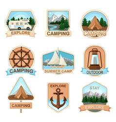 Outdoor adventure and camping badges set vector