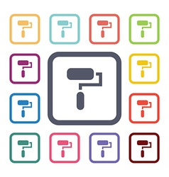Paint roller flat icons set vector