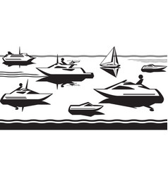 Passenger ships and yachts in sea vector