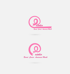 Pink ribbon iconpink care logobreast cancer vector