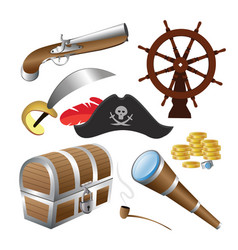 pirate icon set isolated vector image