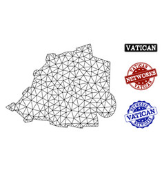 polygonal network mesh map of vatican and vector image