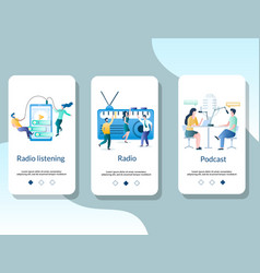 radio online mobile app onboarding screens vector image