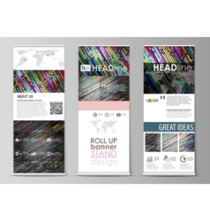 Roll up banner stand flat design templates vector