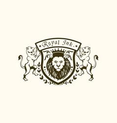 royal ink lion logo vector image
