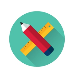 Ruler and pencil icon vector