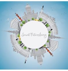 Saint petersburg skyline with gray landmarks vector