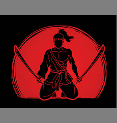 samurai warrior sitting with swords cartoon vector image