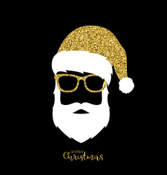 santa claus with hat and glasses gold glitter vector image