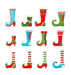 Santa little helpers in medieval pointed shoes vector