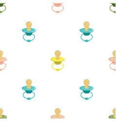 seamless pattern with baby pacifier vector image