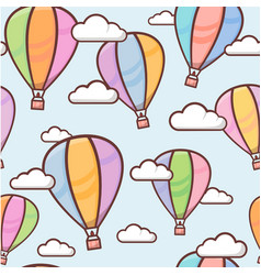 seamless pattern with colorful outline balloons in vector image