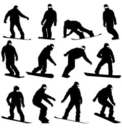 Set black silhouettes snowboarders on white vector image