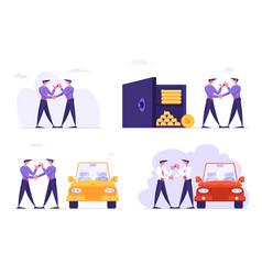 Set businesspeople car sharing service saving vector