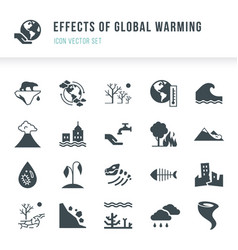 Set of global warming icons natural disasters vector