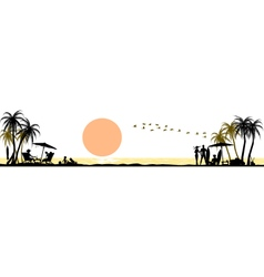 Silhouette beach background vector