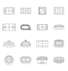 Sport stadium icons set outline style vector