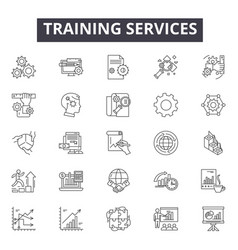 Training services line icons for web and mobile vector