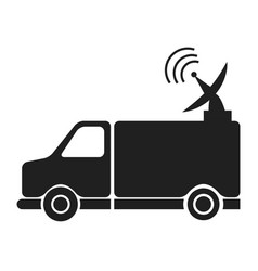 Transmission truck tv antenna dish signal vector