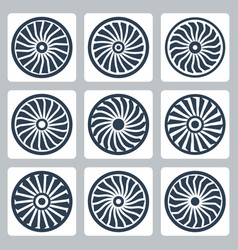 turbines icon set vector image